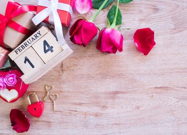 Bovenaanzicht concept van valentijnsdag.