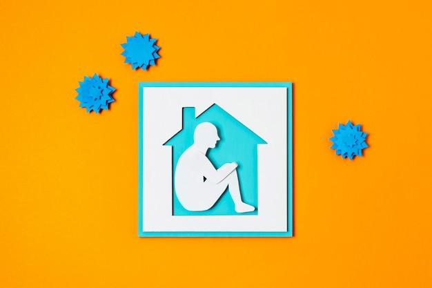 Bovenaanzicht covid concept met oranje achtergrond