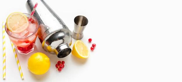 Bovenaanzicht cranberry wodka glazen met citroen en ijs met kopie-ruimte