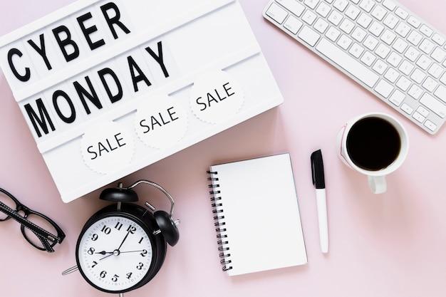 Bovenaanzicht cyber maandag verkoop lichtbak