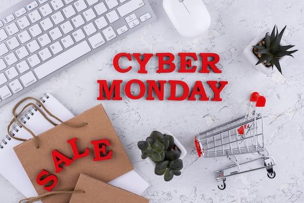 Bovenaanzicht cyber monday assortiment
