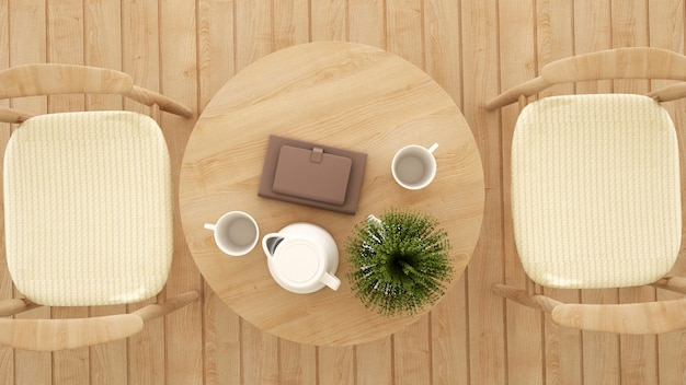 Bovenaanzicht eethoek in coffeeshop of restaurant - 3d-rendering