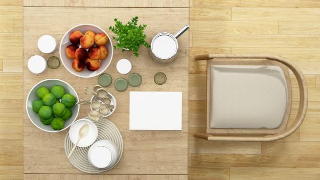 Bovenaanzicht eetkamer of pantry minimaal ontwerp - 3d-rendering