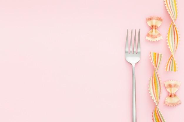 Bovenaanzicht elegante vork met kopie ruimte