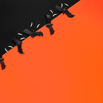Bovenaanzicht enge halloween vleermuizen met kopie ruimte