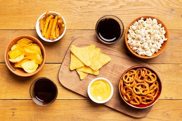 Bovenaanzicht eten arrangement