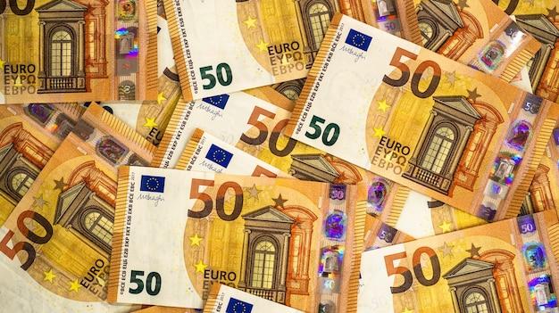 Bovenaanzicht euro contant geld achtergrond