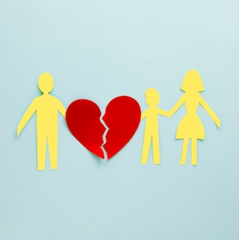 Bovenaanzicht familie echtscheiding papier vorm
