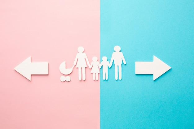 Bovenaanzicht familie figuur met borden
