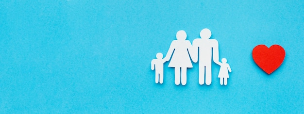 Bovenaanzicht familie figuur met kopie ruimte concept