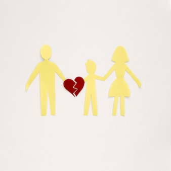 Bovenaanzicht familie gescheiden