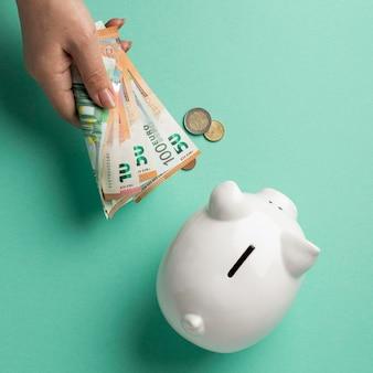 Bovenaanzicht financiële elementen arrangement