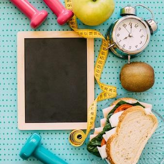Bovenaanzicht fitness concept met leisteen