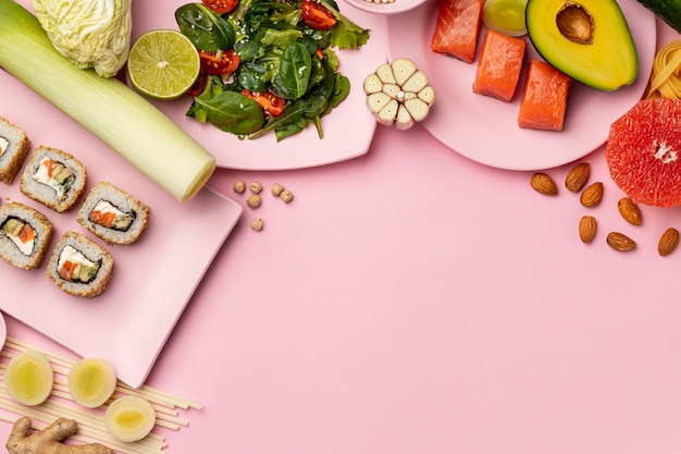Bovenaanzicht flexitarisch dieet met kopie-ruimte