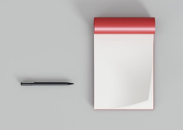 Bovenaanzicht flip-overpapier en pen