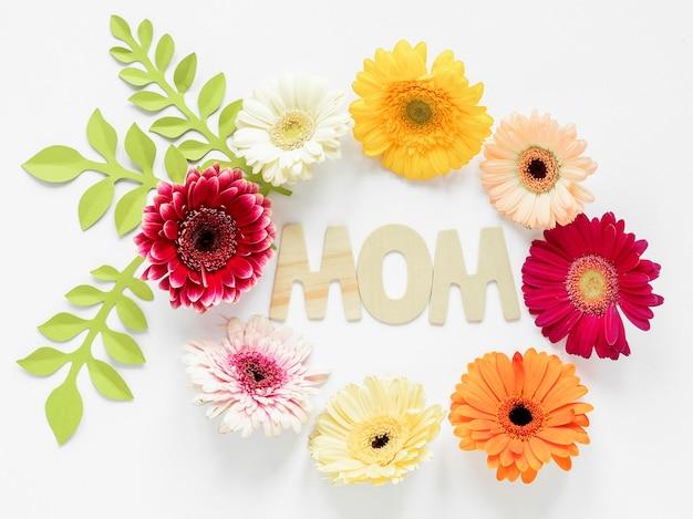Bovenaanzicht floral circulaire frame