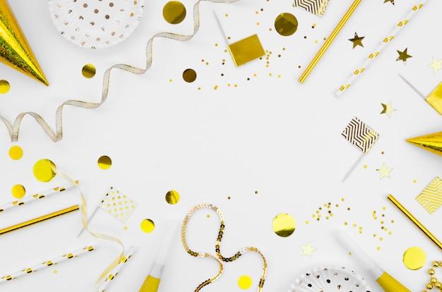 Bovenaanzicht frame met nieuwjaar accessoires