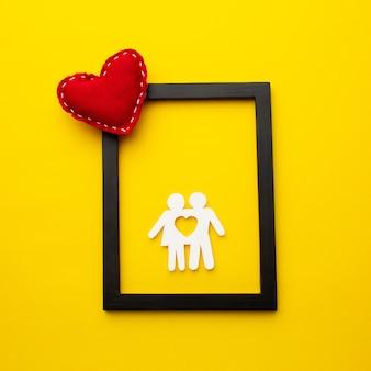 Bovenaanzicht frame met papier gesneden familie