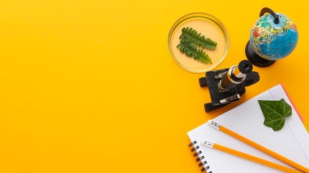 Bovenaanzicht frame met studie-items