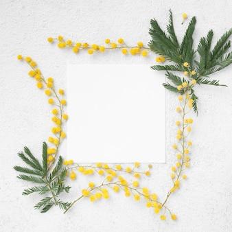 Bovenaanzicht frame van bloemen takken