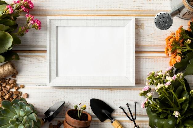 Bovenaanzicht frame van bloemen