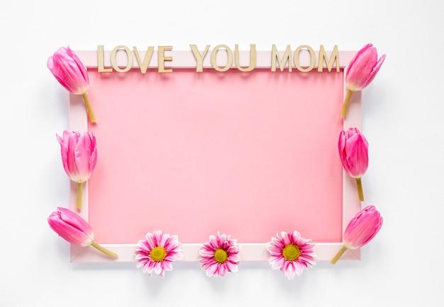 Bovenaanzicht frame versierd met tulpen