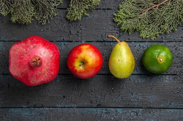 Bovenaanzicht fruit op tafel granaatappel appel peer limoen naast sparren takken