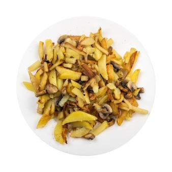 Bovenaanzicht gebakken aardappelen met champignons