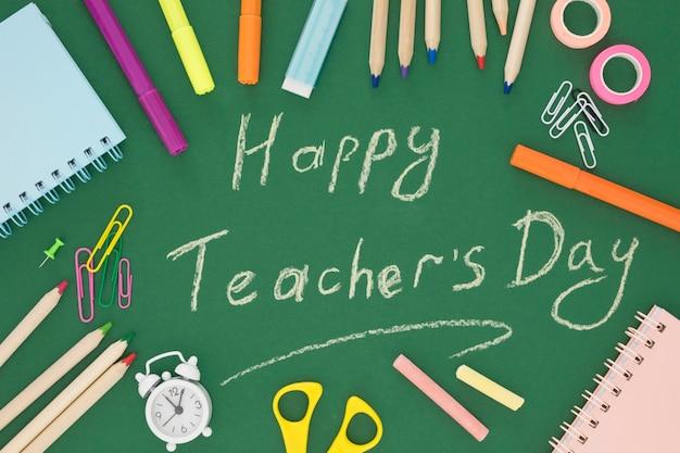 Bovenaanzicht gelukkig leraar dag concept