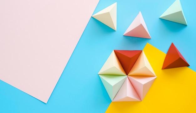 Bovenaanzicht geometrische collectie met kopie-ruimte