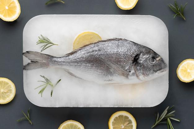 Bovenaanzicht gezond bevroren voedsel arrangement