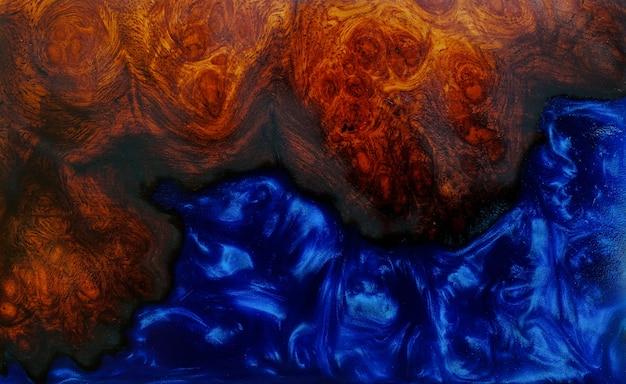 Bovenaanzicht gieten epoxyhars burl hout achtergrondstructuur