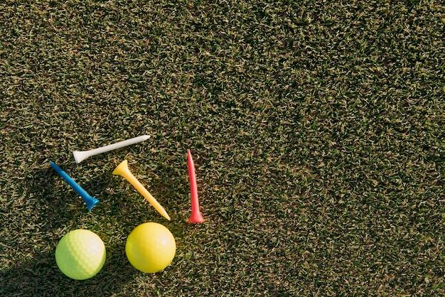 Bovenaanzicht golfballen