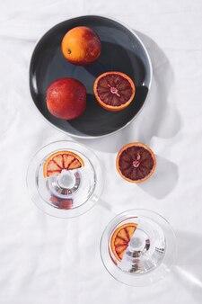 Bovenaanzicht grapefruits arrangement