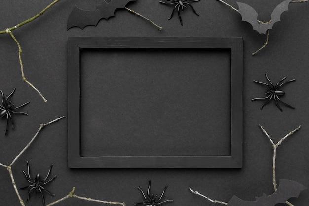 Bovenaanzicht griezelig halloween-concept met frame