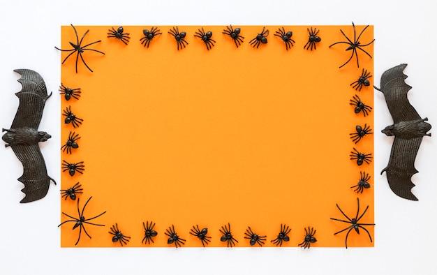Bovenaanzicht griezelig halloween concept met kopie ruimte