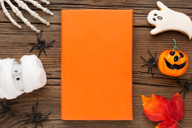 Bovenaanzicht griezelig halloween-concept
