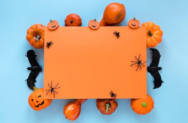 Bovenaanzicht griezelig halloween elementen collectie