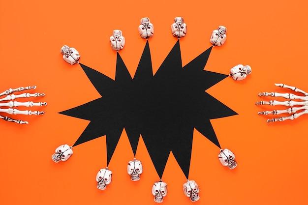 Bovenaanzicht griezelige halloween-collectie