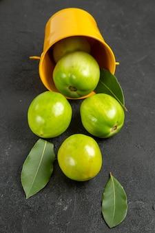 Bovenaanzicht groene tomaten laurierblaadjes en omgekeerde gele emmer op donkere grond