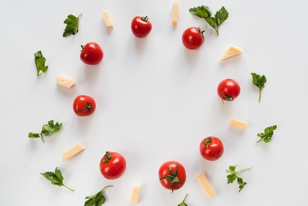 Bovenaanzicht groente omrande frame