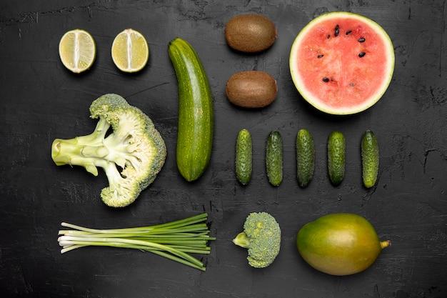 Bovenaanzicht groenten en fruit