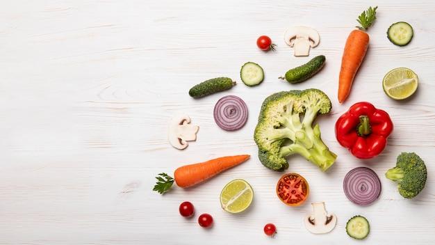 Bovenaanzicht groenten met kopieerruimte