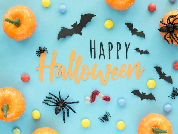 Bovenaanzicht halloween concept met pompoenen