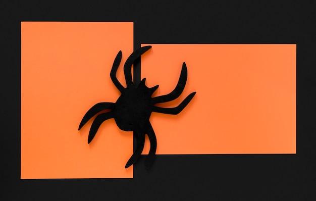 Bovenaanzicht halloween concept met spin
