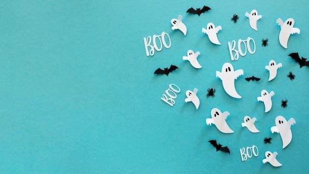 Bovenaanzicht halloween elementen met kopie ruimte