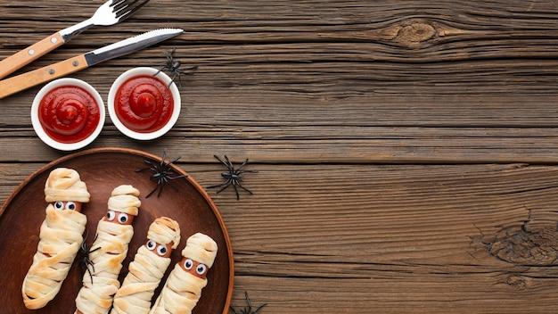 Bovenaanzicht halloween eten met kopie ruimte