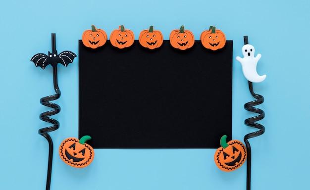 Bovenaanzicht halloween pompoenen