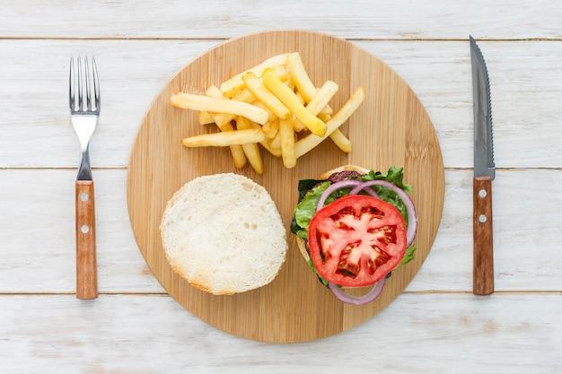 Bovenaanzicht hamburger
