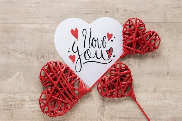 Bovenaanzicht hartvorm ornamenten